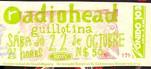 Uno de los boletos para el concierto de Radiohead. Foto: Instinto GDL